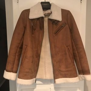 Faux suede fall jacket